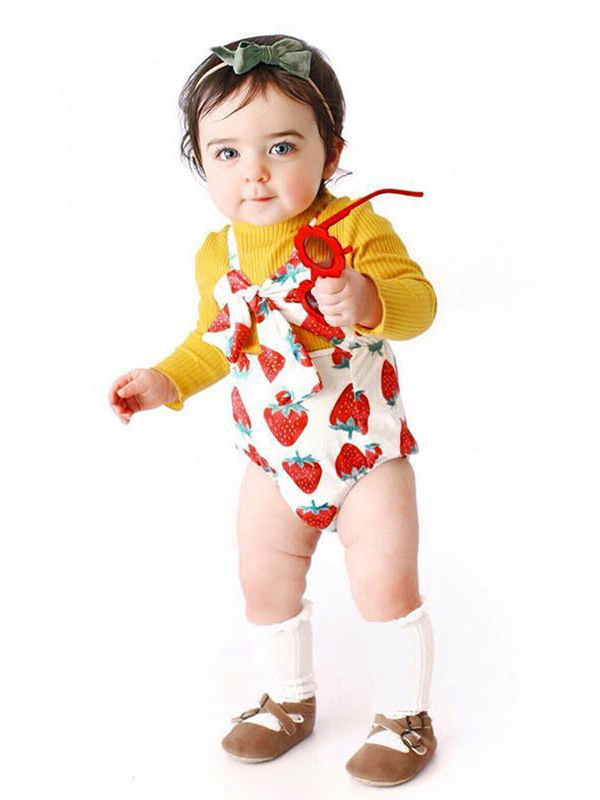 Strawberry Printed Straps Bow Decor Baby Rompers
