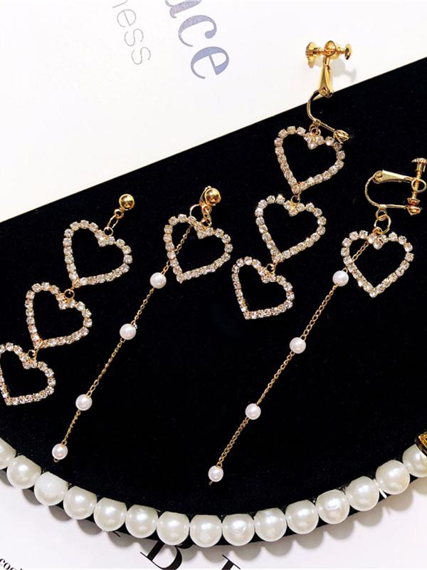 Rhinestone Heart Shape Asymmetry Pearl Earrings