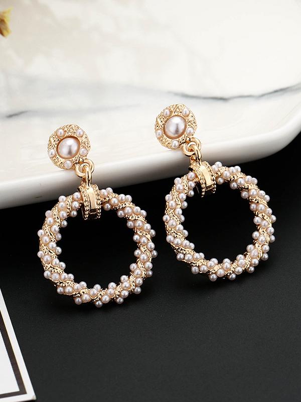 New Style Round Rhinestone Faux Pearl Female Earrings