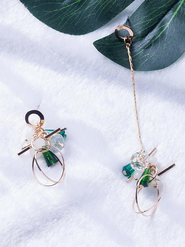 Ins Studded Metal Circle Asymmetrical Women Earrings