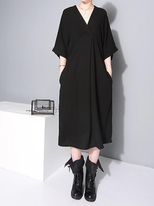 Simple Style V Neck Tie-Wrap Half Sleeve Dresses