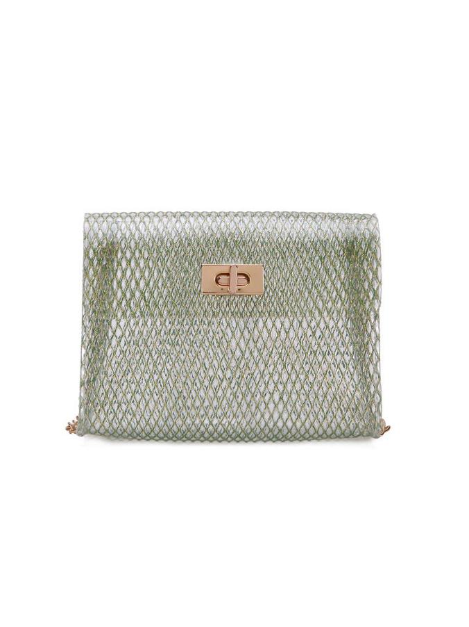 Twist Hasp Transparent Pvc Shoulder Bag