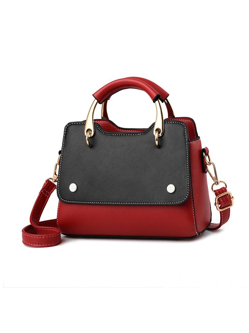 Contrast Color Metal Handle Handbag For Women