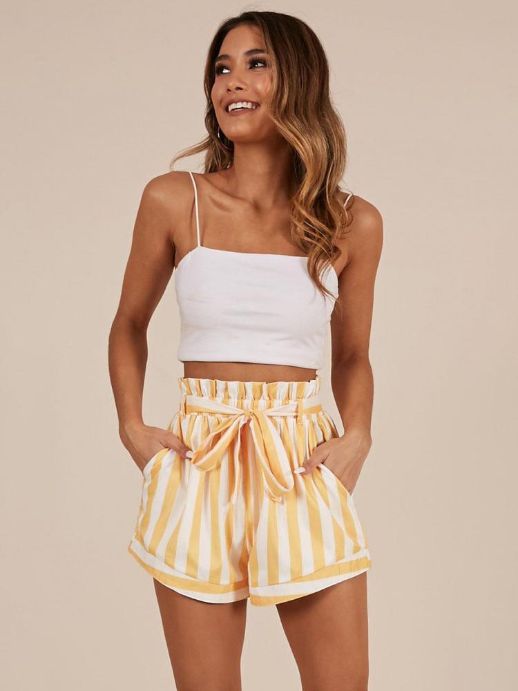 Causal Striped Drawstring High Waist Women Shorts