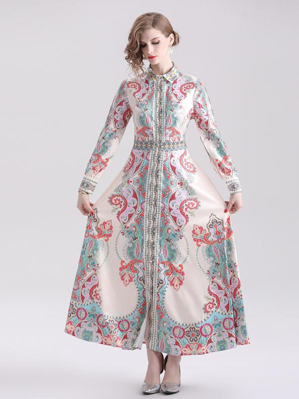 National Printed Single-Breasted Long Sleeve Maxi Dress