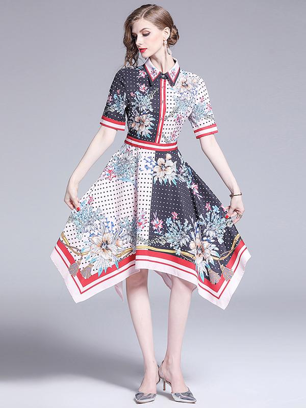 Turndown Neck Dots Irregular Hem Flower Dress