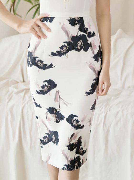 Stylish High Waist Printed Skirt