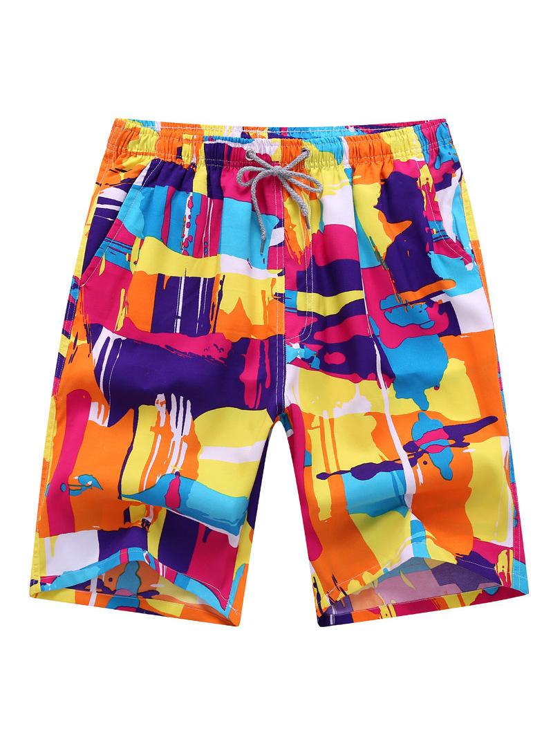 New Style Printed Drawstring Mens Casual Shorts