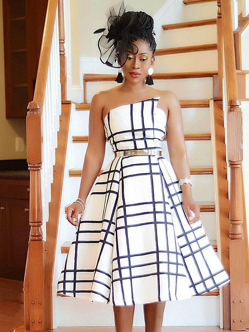 Stylish Plaid Wrap Women Strapless Dresses