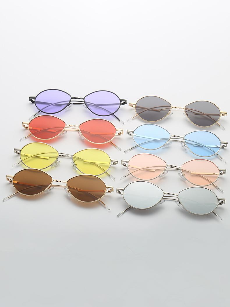 Retro Solid Oval-shaped Unisex Sunglasses