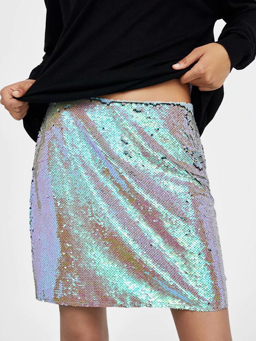 High Waist Sequins a Line Skirt For Women