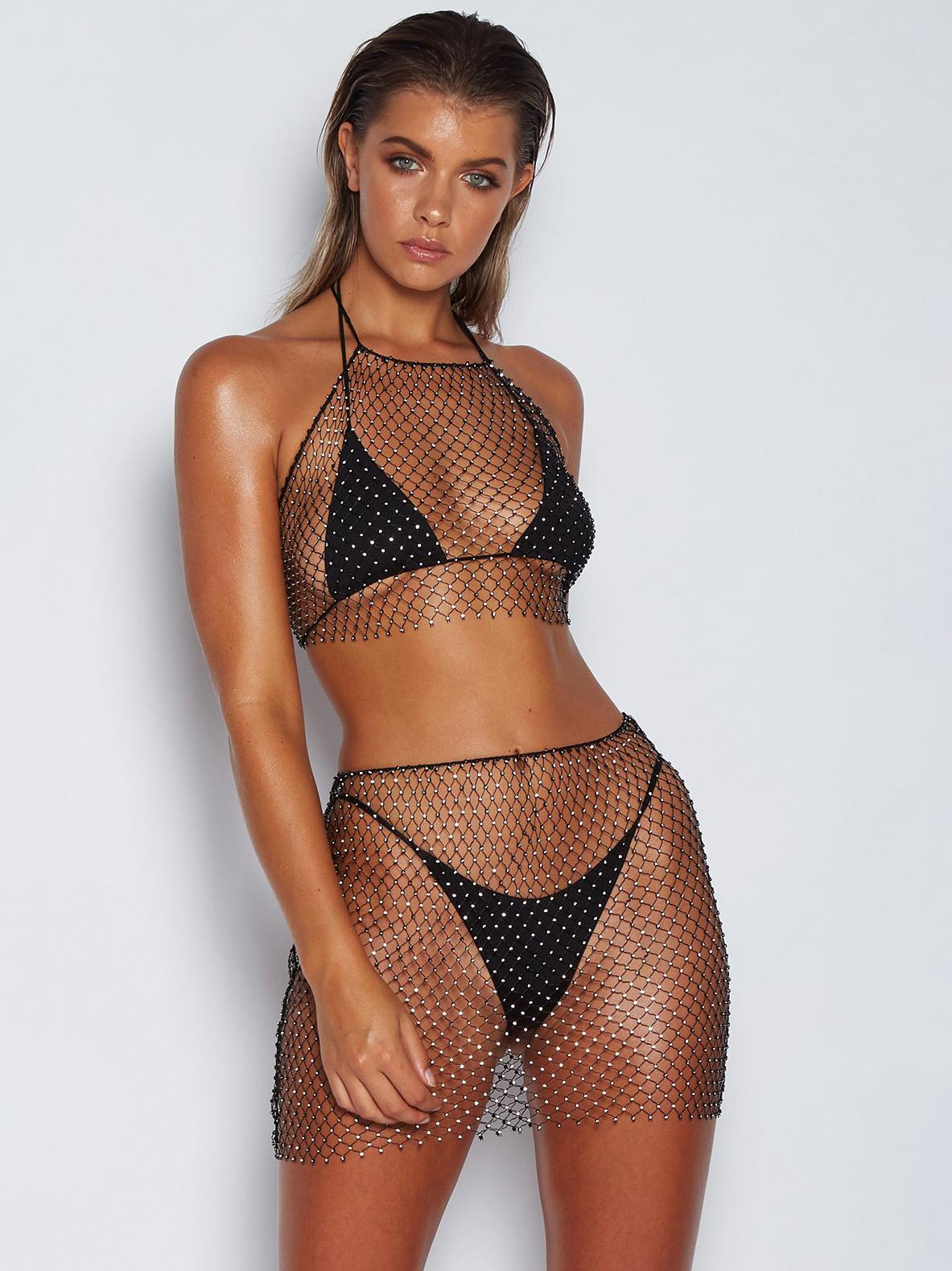 Sexy Rhinestone Decor Fishnet Mesh Bodycon Skirt