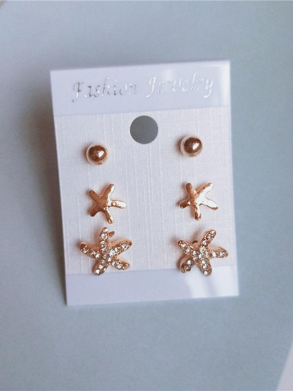 Alloy Material Starfish Rhinestone Decor Mini Earrings