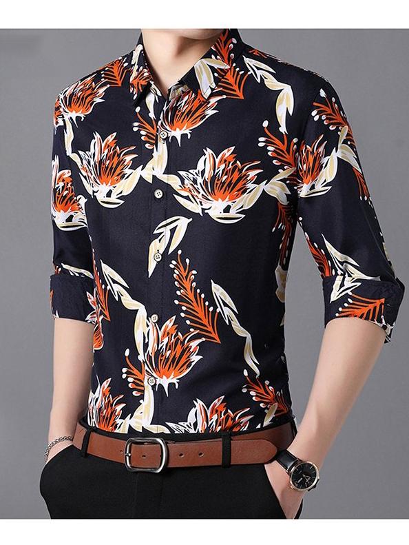 Fashion Printed Long Sleeve Shirt For Men