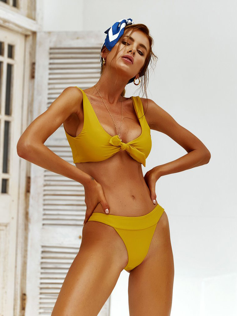 New Arrival Knotted Solid 2 Pieces Swimsuits