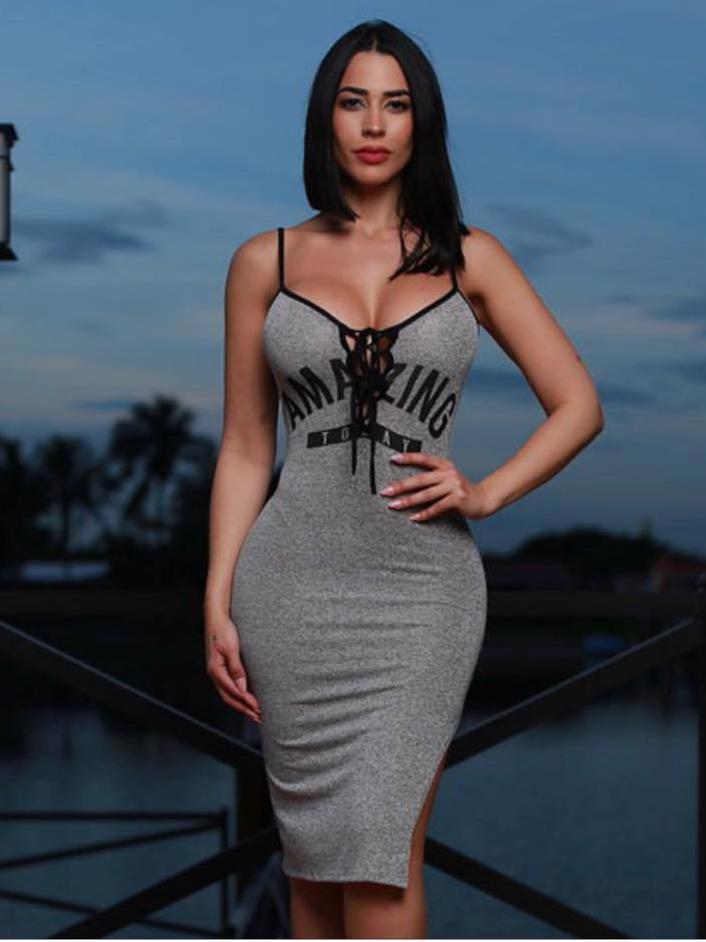 Sexy Front Tied Spaghetti Straps Bodycon Dress