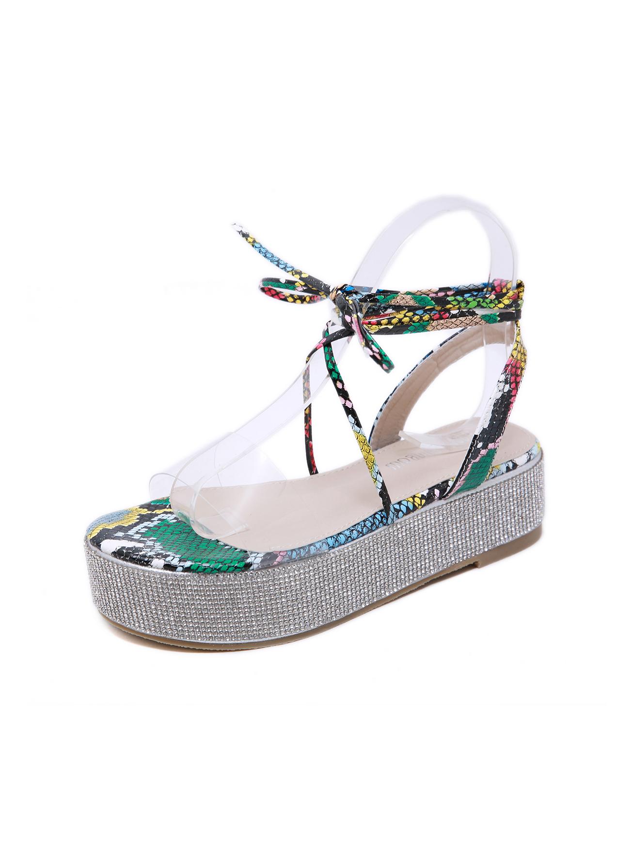 High Platform Lace Up Rhinestone Decor Ladies Sandals