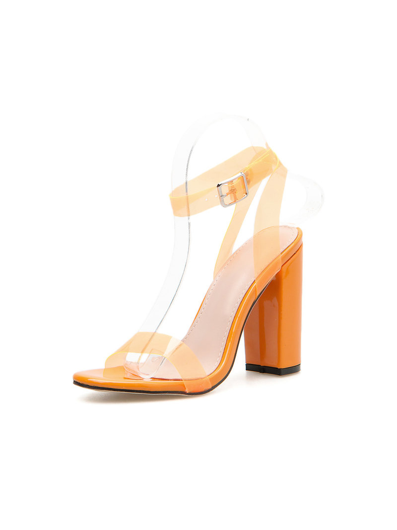 Orange Chunky Heels Designer Shoes For Women