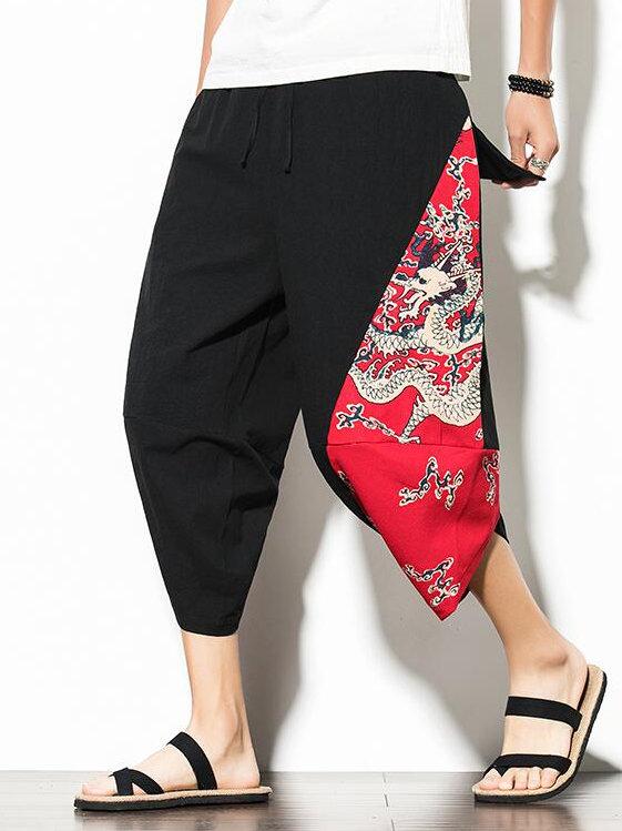 National Dragon Printed Capri Pants For Men