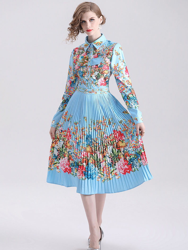 Turndown Collar Printed Pleated Long Sleeve Dress
