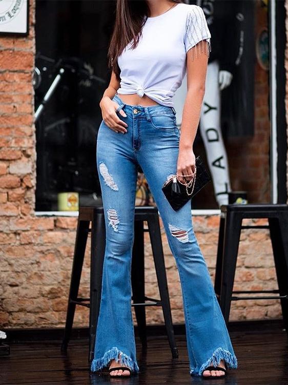 Fashion Ripped Tassel Flared Women Jeans
