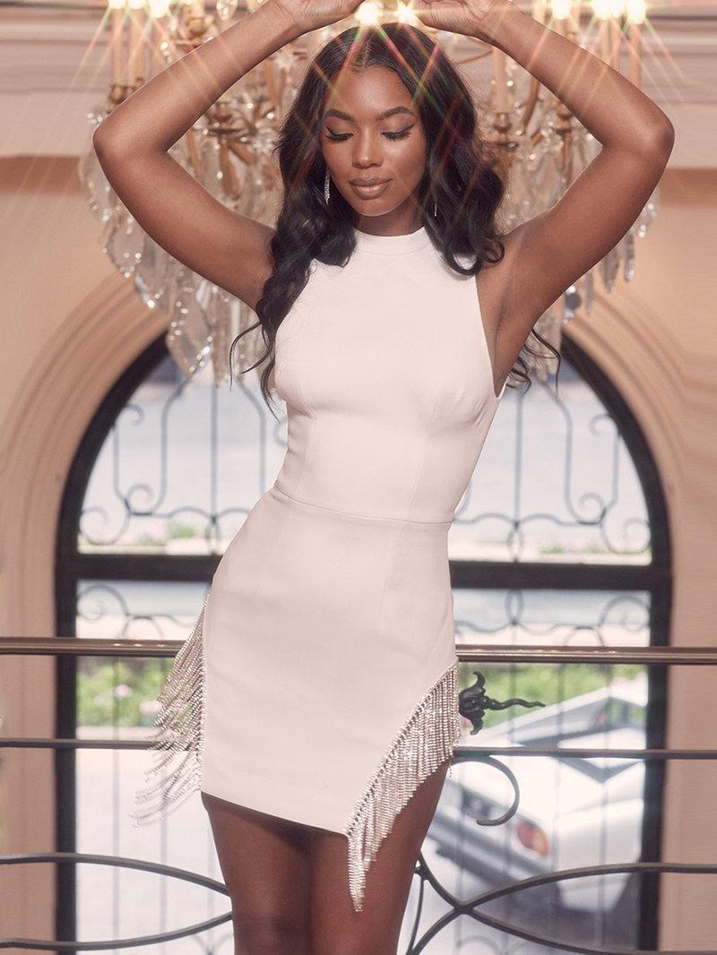 Solid Rhinestone Tassel Patchwork Sleeveless Dress