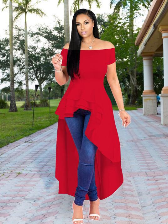 Fashion Off Shoulder Ruffled Hem Dress