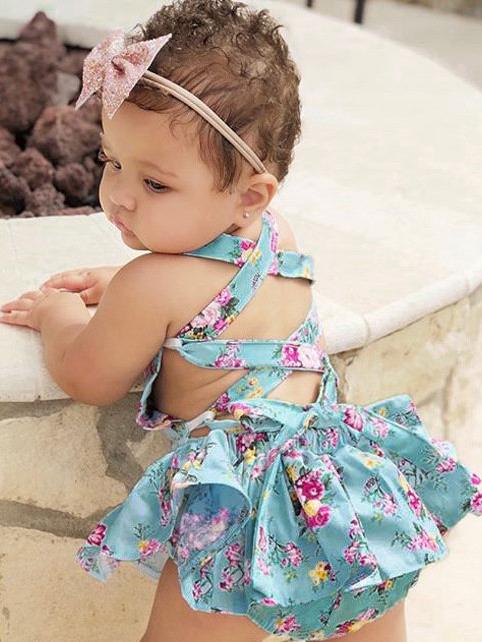 Lace Trim Cross Tie-Wrap Girl Sleeveless Romper