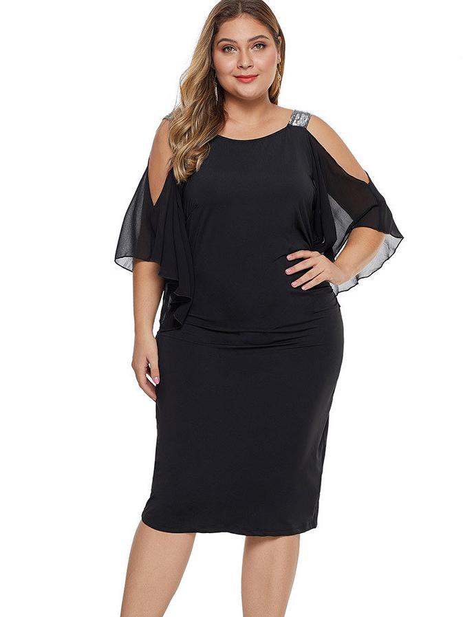 Cold Shoulder Solid Color Plus Size Dresses