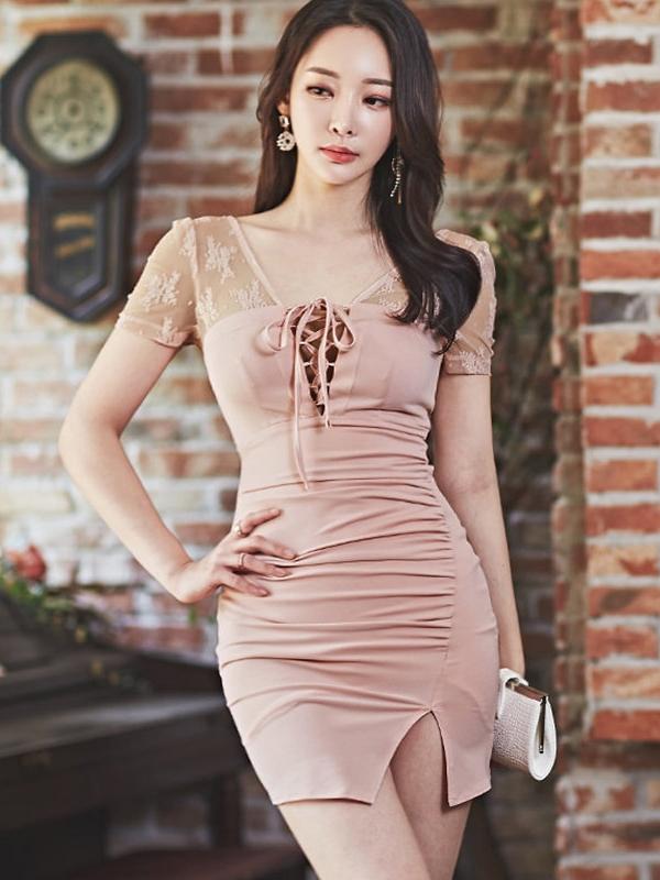 Sexy Drawstring Lace Panel Short Sleeve Dress