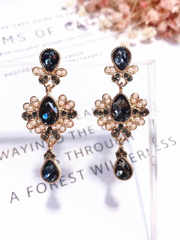 Royal Court Rhinestone Long Earrings