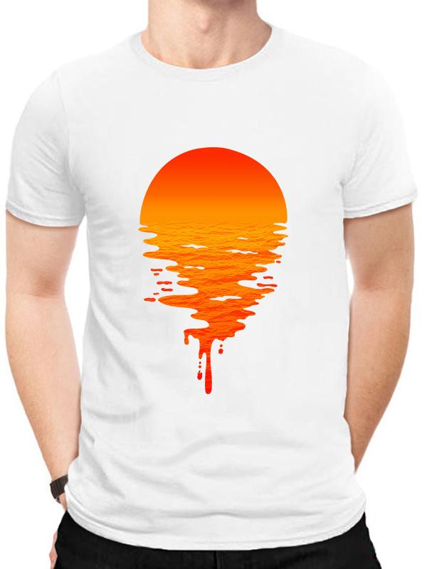 Casual Short Sleeve Sun Printed Mens Tee