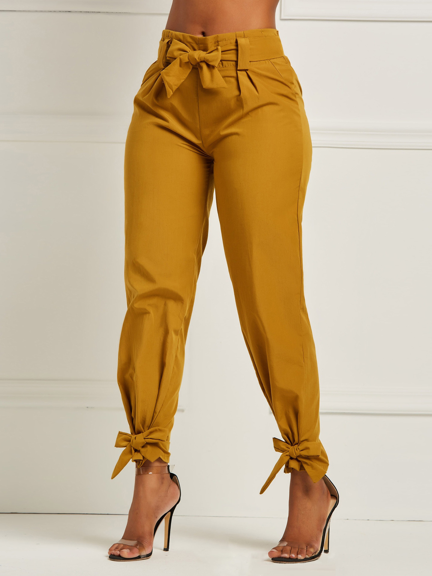 Casual Solid Color Binding Bow Women Long Pants