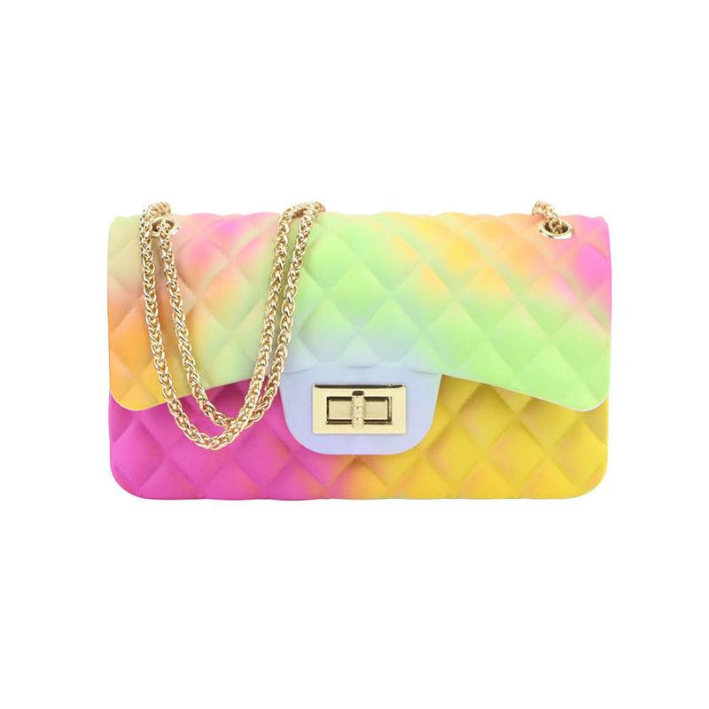 Large Size Gradient Color Diamond Pattern Chain Bag