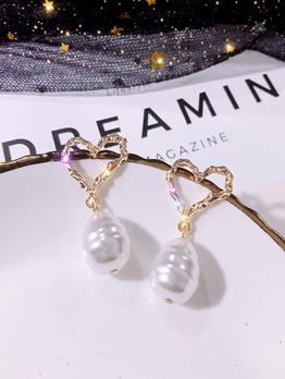 Faux Pearl Heart Shape Drop Earrings For Women