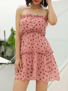 Sweet Style Polka Dots Strapless Dress
