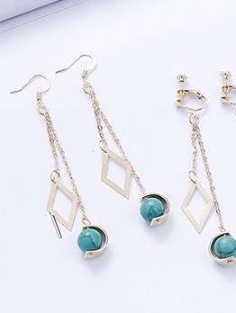 Retro Geometric Shape Glass Bead Long Earrings