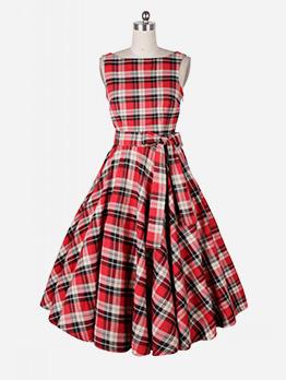 Sleeve Plaid Large Hem Audrey Hepburn Style Dresses