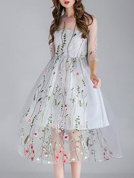 Fashion Exquisite Embroidery Gauze Midi Dress