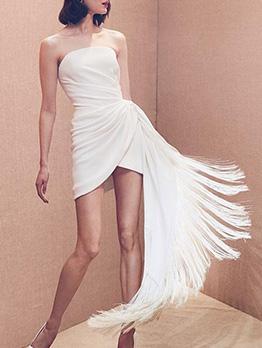 Fashion Tassel Hem White Strapless Dress