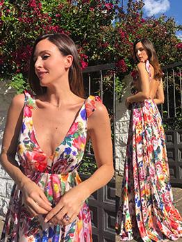 Deep V Neck Backless Floral Floor-Length Dress