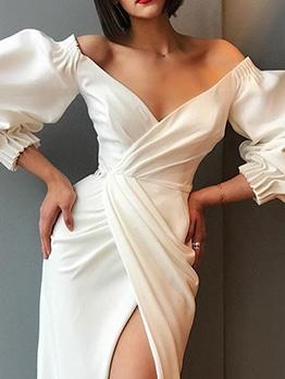 Deep V Neck Puff Sleeve Split Hem Evening Dress