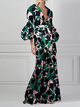 Deep V Neck Colorblock Print Lantern Sleeve Maxi Dress