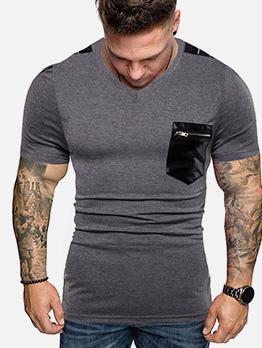 Zipper Pocket V Collar Short Sleeves Male Tees