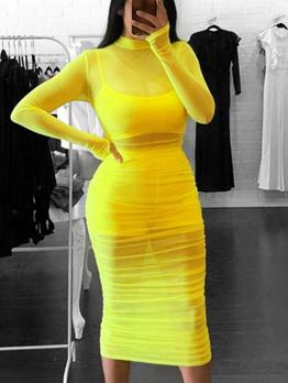 Sexy Mock Neck Draped Perspective Midi Dress