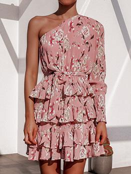Binding One Shoulder Printed Tiered Dress
