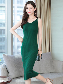 Simple Style V Neck Knitting Sleeveless Dress