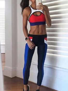 Hollow-Out Contrast Color Sporty Ladies Yoga Sets