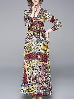 V Neck Leopard Printed Tie-Wrap Maxi Dress