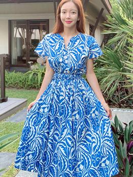 V Neck Smart Waist Short Sleeve Midi Dress